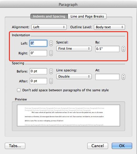 Image showing how to configure Microsoft Word to indent the first line of every paragraph as required for novel manuscripts.
