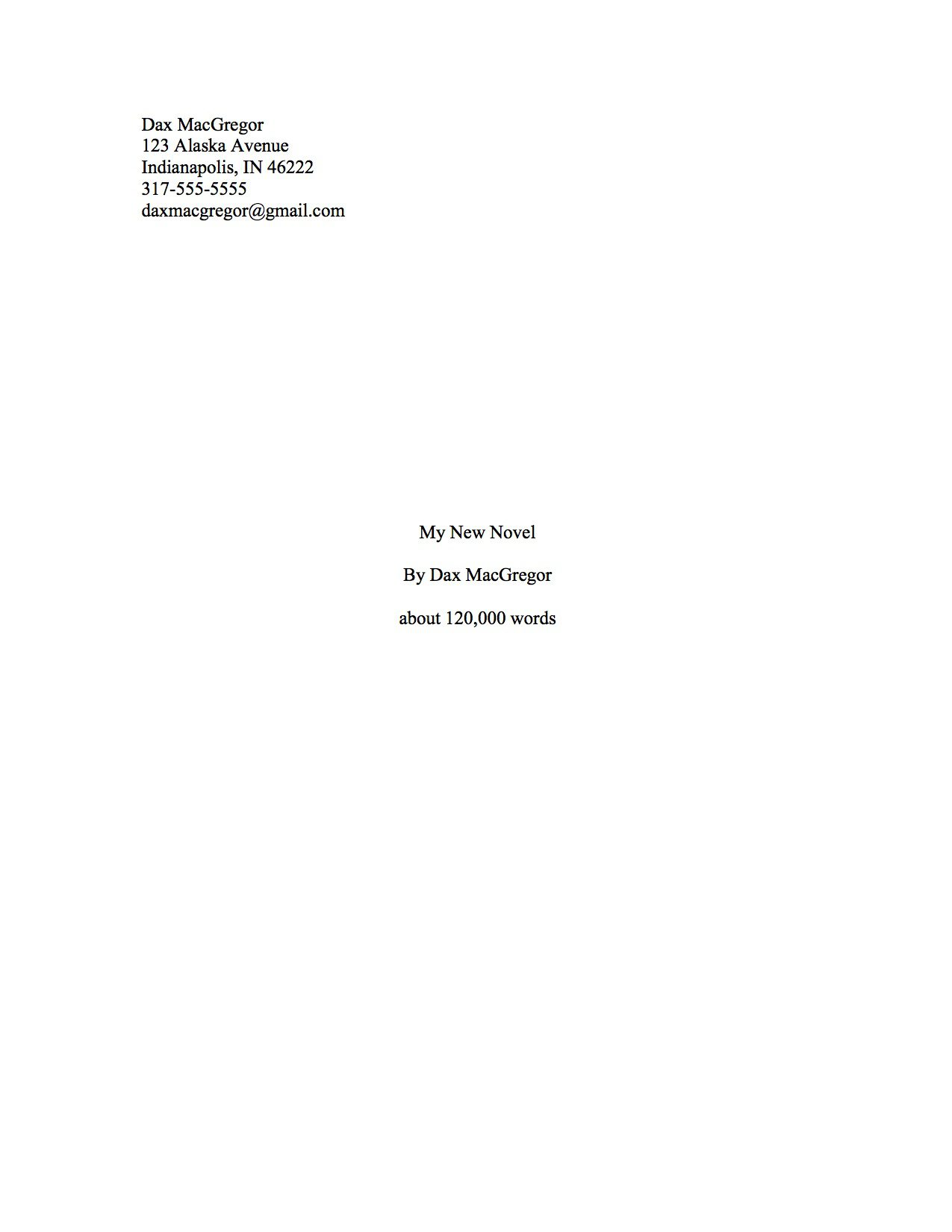 proper manuscript format for a novel first manuscript sample title page