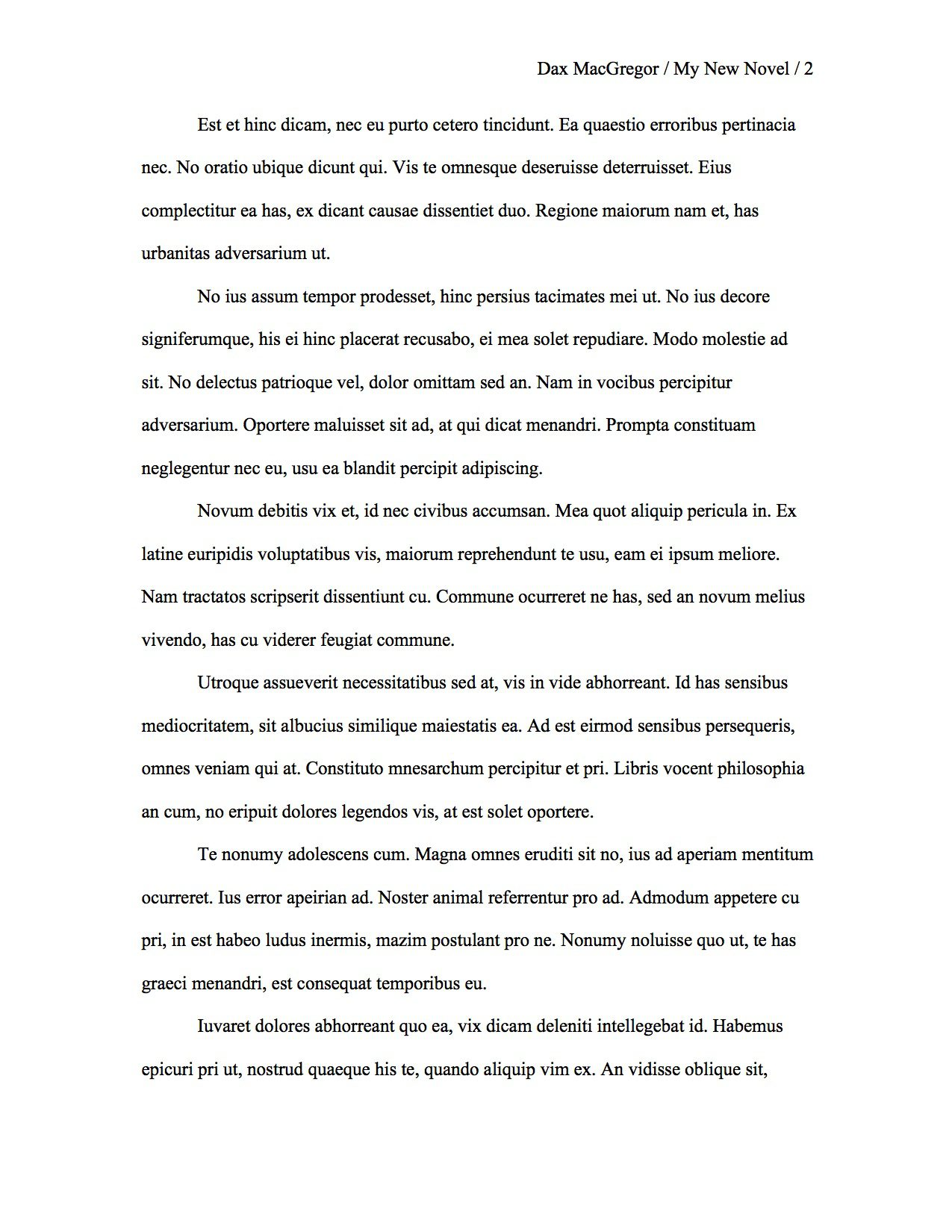 image demonstrating proper manuscript format for a typical page in a novel - Proper Format Of A Resume